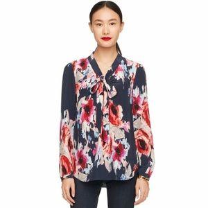 Kate Spade Hazy Floral Silk Tie Blouse